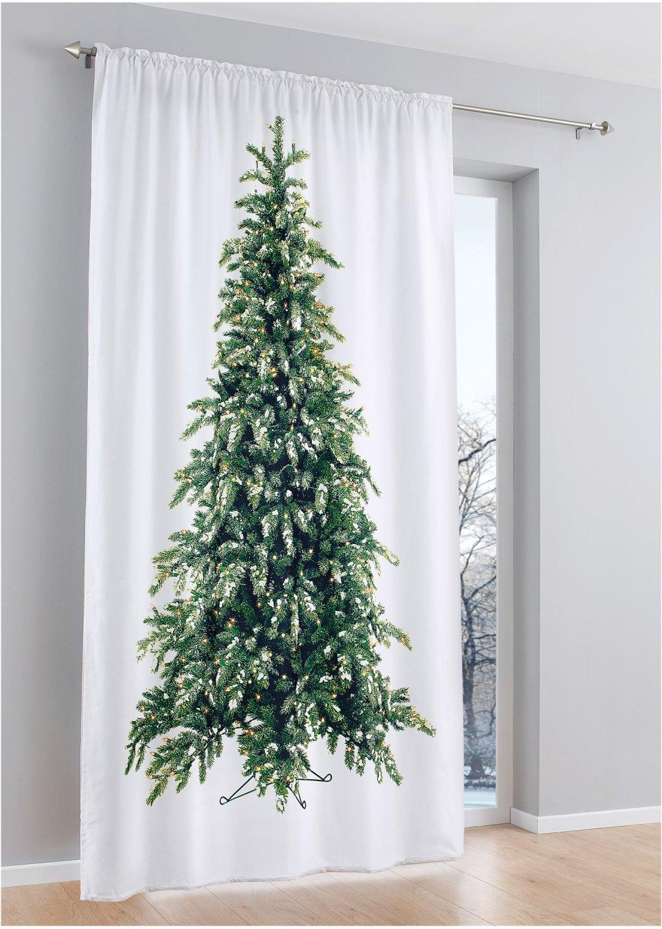 vorhang tannenbaum wei gr n bpc living online kaufen. Black Bedroom Furniture Sets. Home Design Ideas