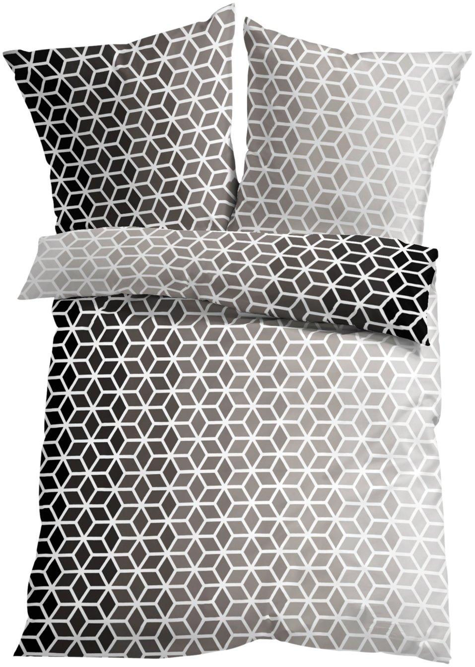 w rfel ist eine tolle bettw sche mit modernem farbverlauf schwarz wei microfaser. Black Bedroom Furniture Sets. Home Design Ideas