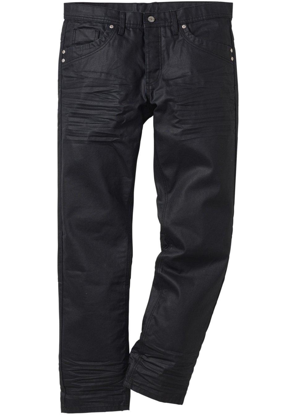 beschichtete jeans mit coolen details schwarz l nge 34. Black Bedroom Furniture Sets. Home Design Ideas