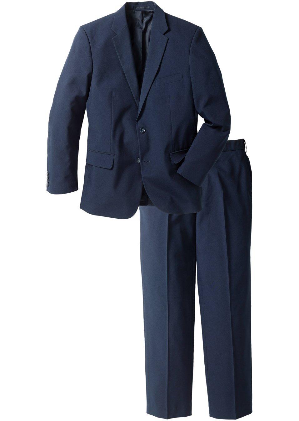 klassischer anzug mit bequembundhose dunkelblau n gr e. Black Bedroom Furniture Sets. Home Design Ideas