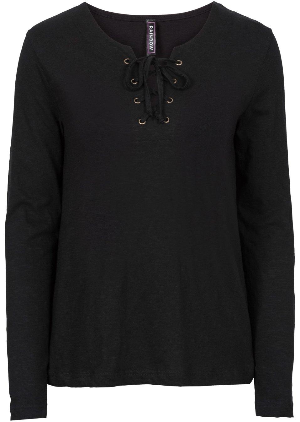 trendiges langarm shirt mit schn rung und v ausschnitt schwarz. Black Bedroom Furniture Sets. Home Design Ideas