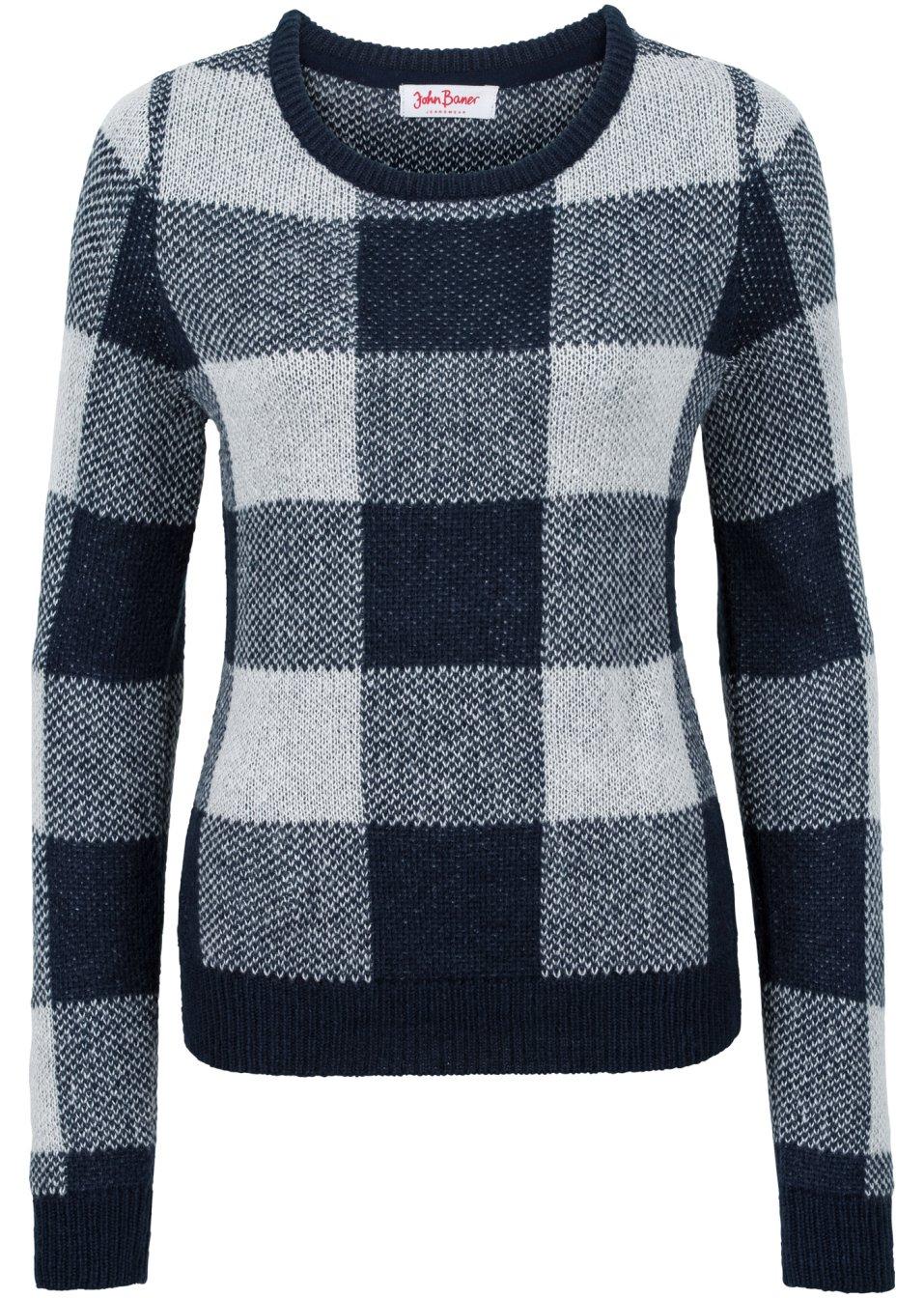 Kombistarker rundhals pullover mit rippkanten blau kariert for Pull a carreaux