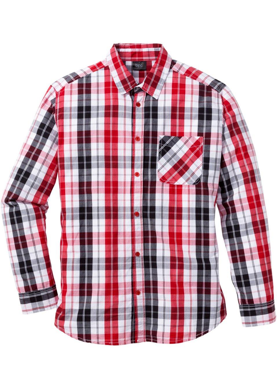 kariertes lang rmliges hemd im sportlichen look rot schwarz wei kariert. Black Bedroom Furniture Sets. Home Design Ideas