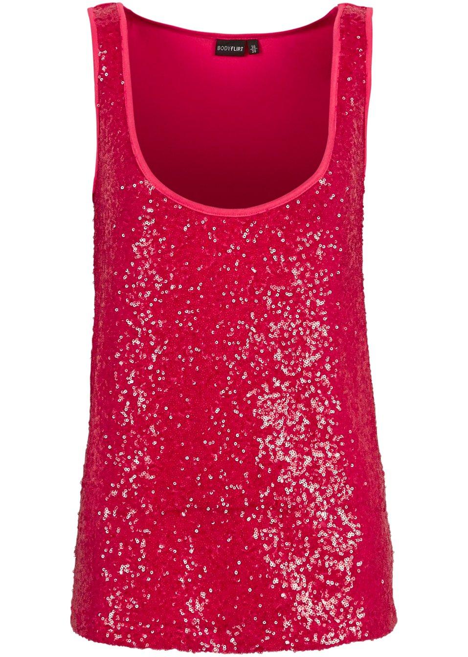 paillettenverziertes top mit rundhalsausschnitt pink. Black Bedroom Furniture Sets. Home Design Ideas