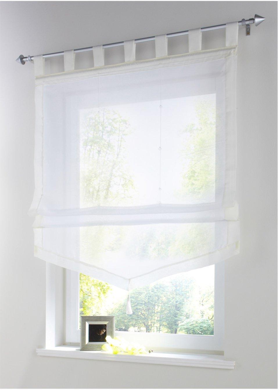 raffrollo sylt in toller wimpelform ein dekorativer rahmen f r ihr fenster creme. Black Bedroom Furniture Sets. Home Design Ideas