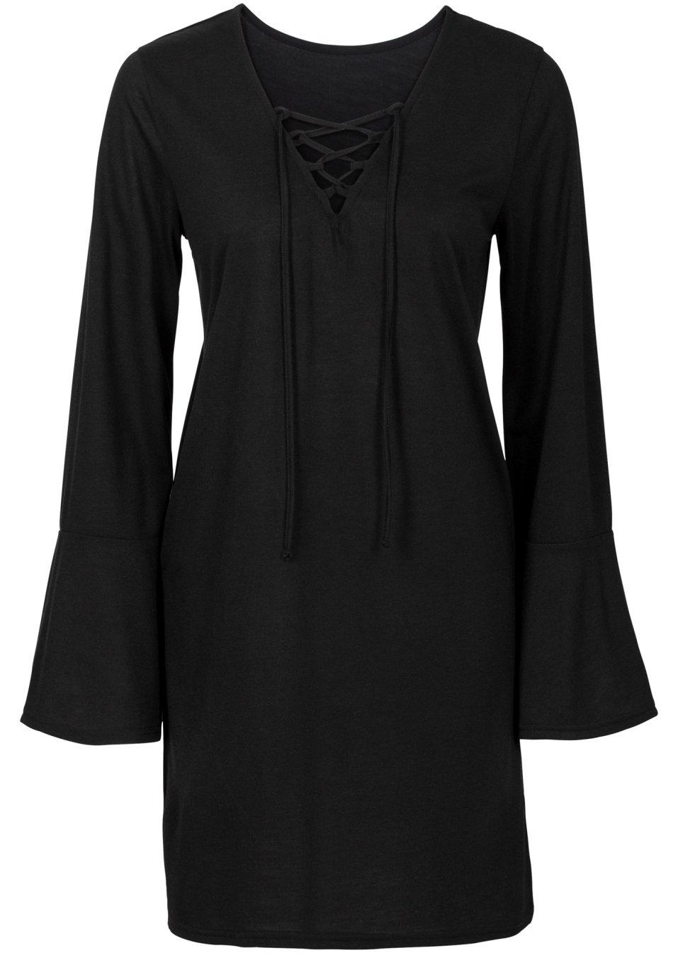 angesagtes tunika shirt mit schn rung schwarz. Black Bedroom Furniture Sets. Home Design Ideas