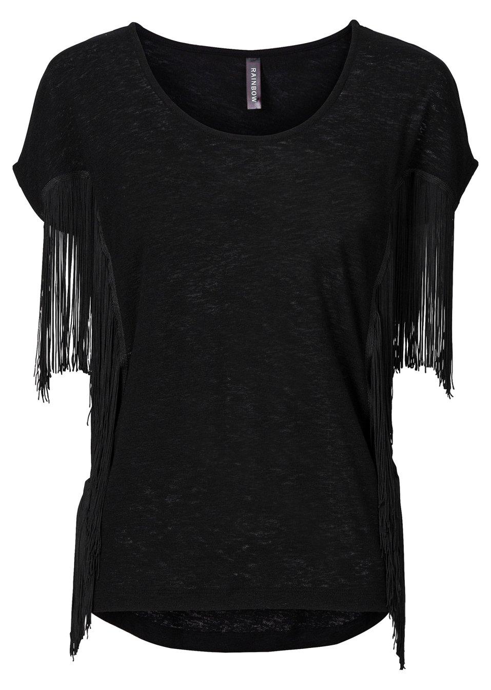 stylishes shirt mit fransen schwarz. Black Bedroom Furniture Sets. Home Design Ideas