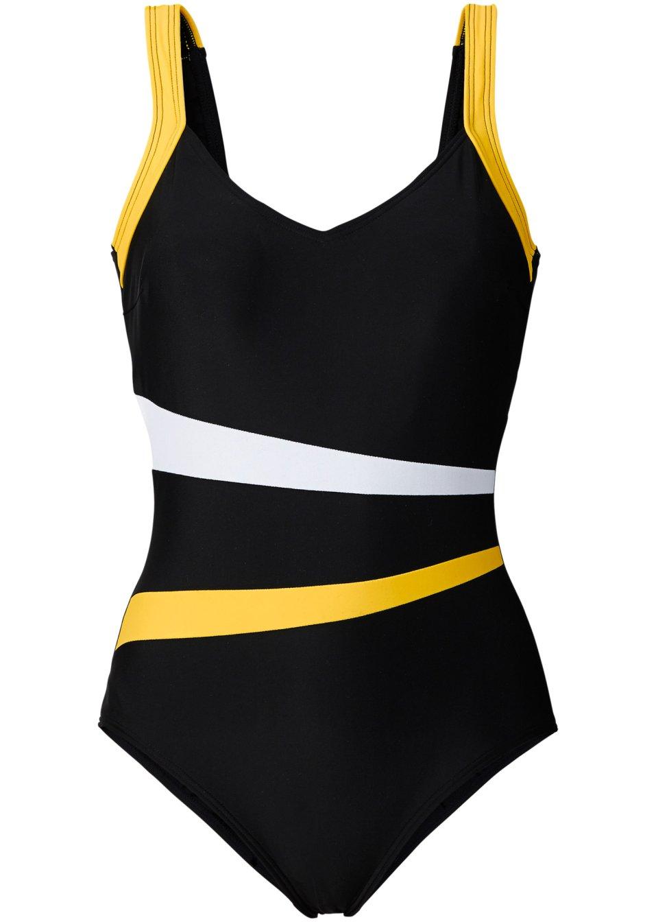 stilvoller badeanzug mit vielen details schwarz wei gelb. Black Bedroom Furniture Sets. Home Design Ideas