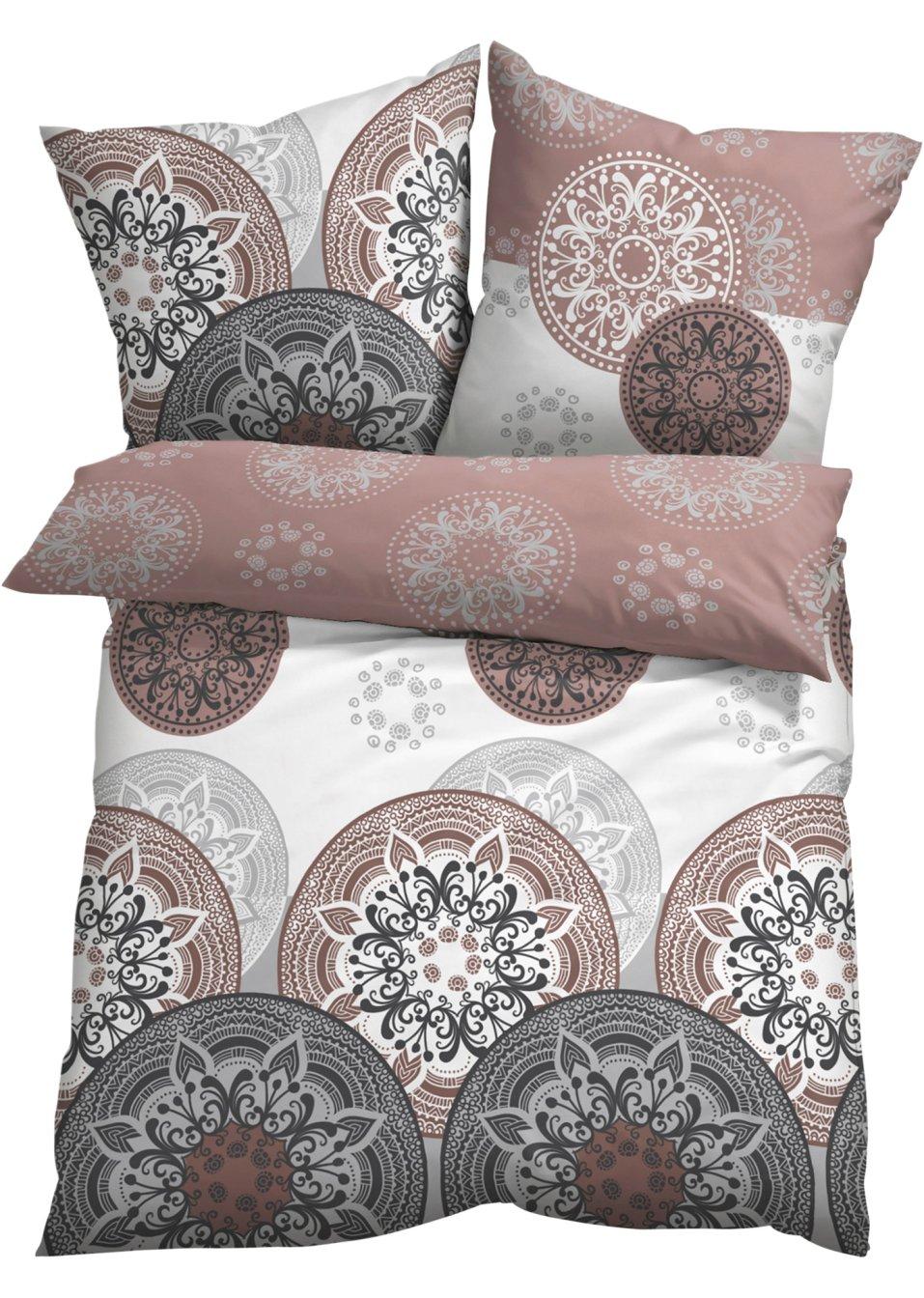 harmonische farben sch nes motiv die bettw sche mia grau taupe linon. Black Bedroom Furniture Sets. Home Design Ideas