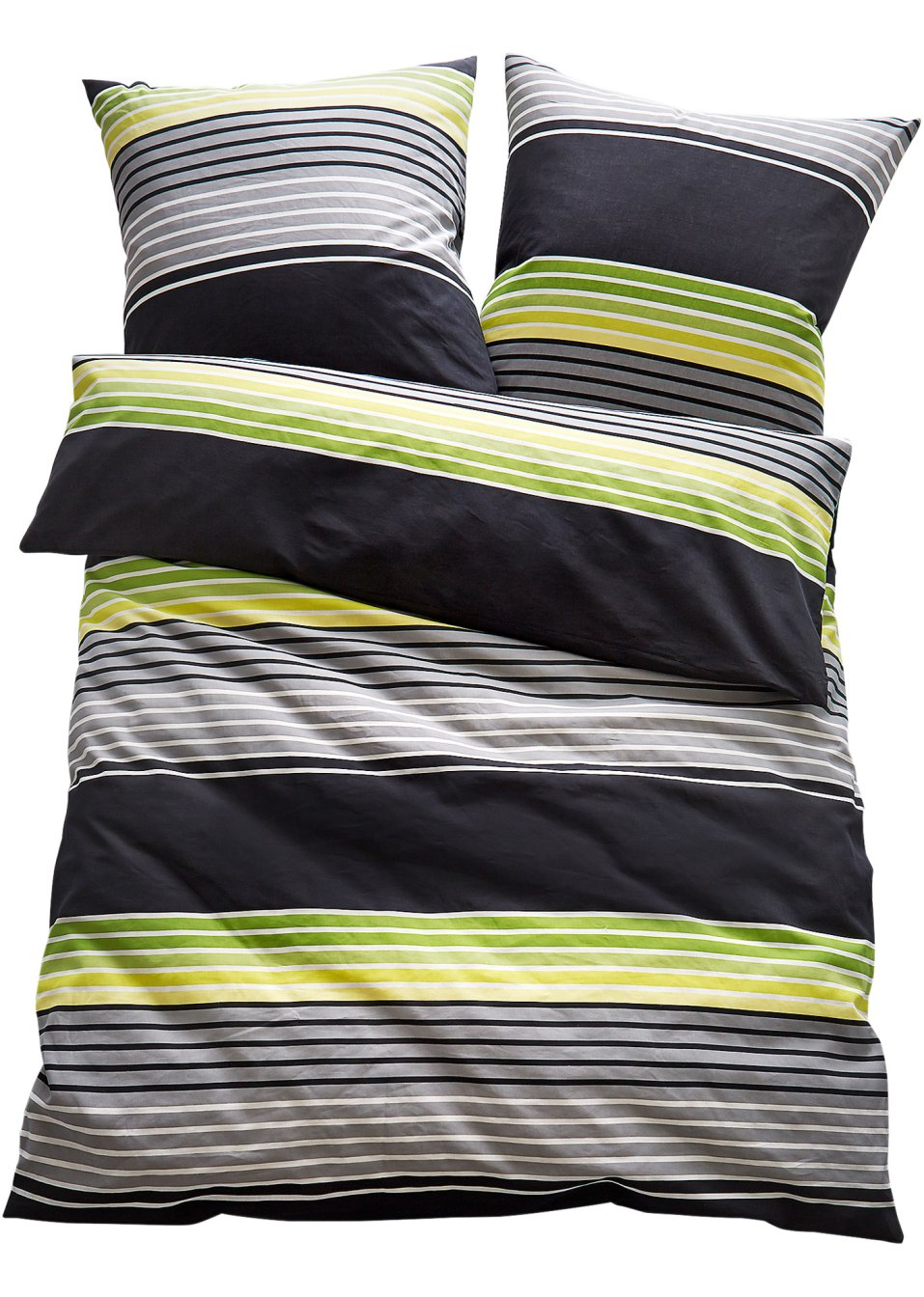 moderner streifenlook die bettw sche gerry gr n jersey. Black Bedroom Furniture Sets. Home Design Ideas