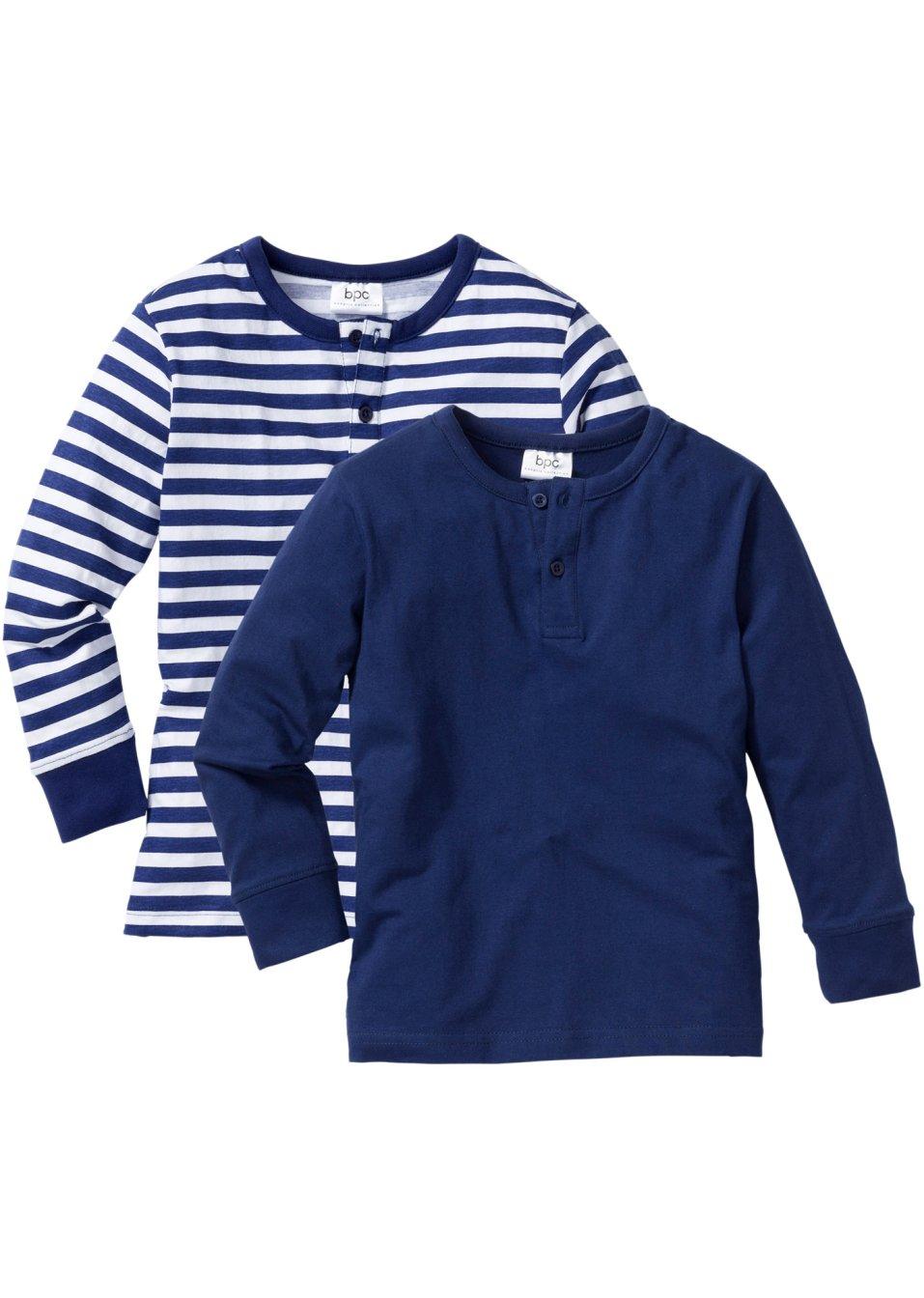 cooles langarmshirt mit knopfleiste und b ndchen mitternachtsblau wei mitternachtsblau. Black Bedroom Furniture Sets. Home Design Ideas