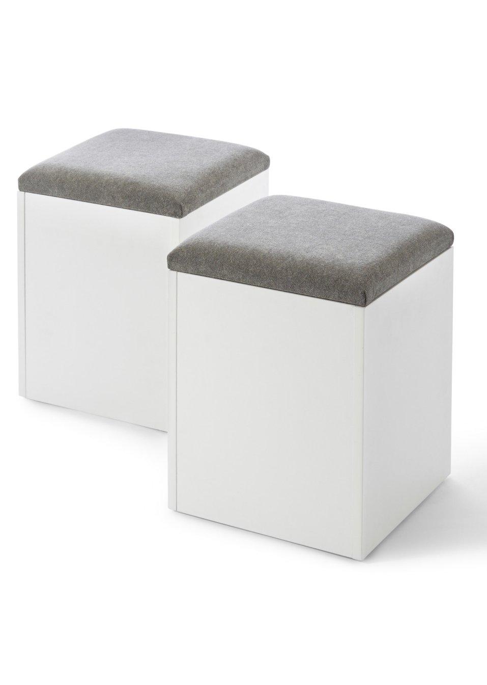 hocker klara wei grau bpc living online bestellen. Black Bedroom Furniture Sets. Home Design Ideas