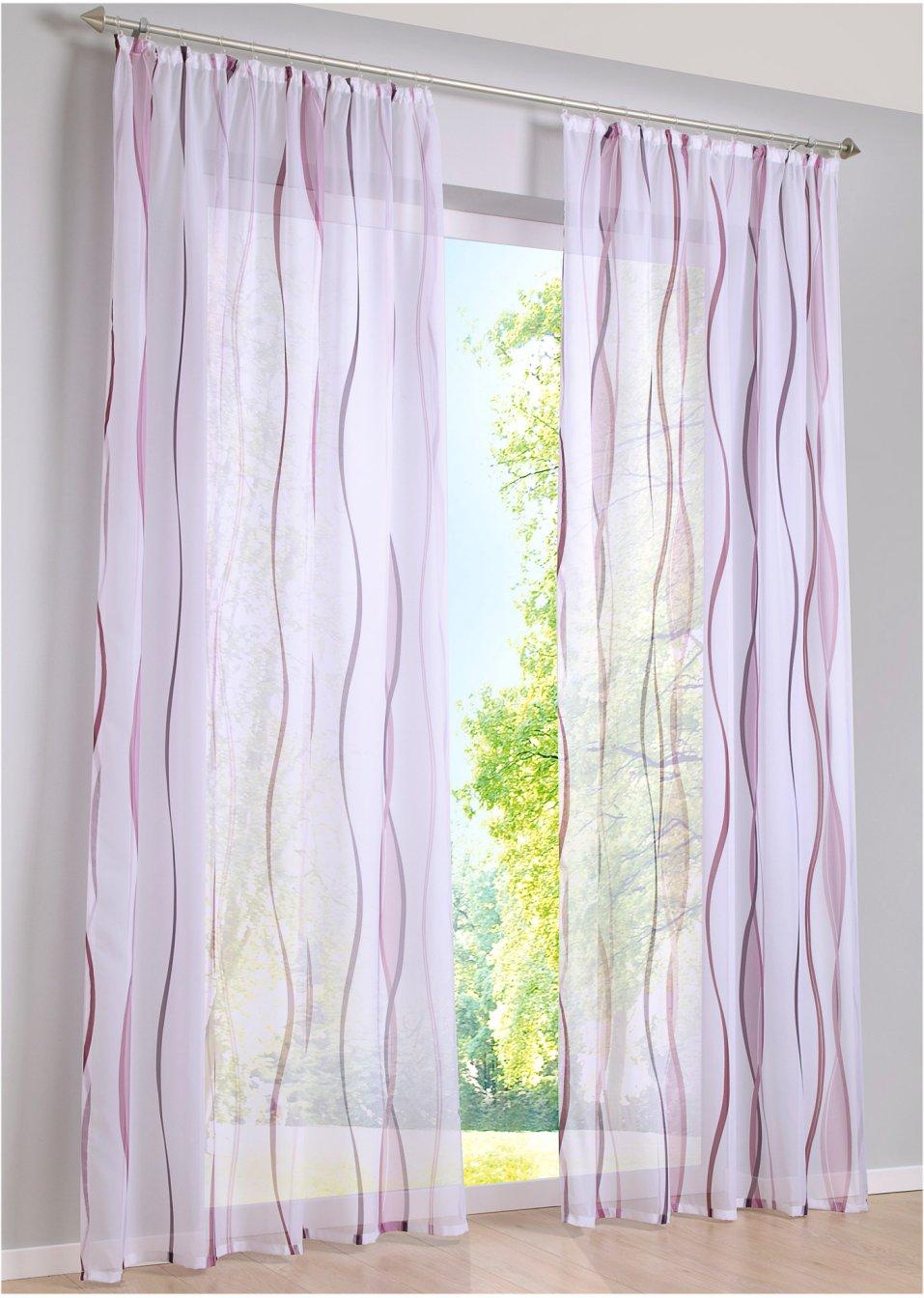 luftig leichte gardine vienna in transparenter optik wei beere kr uselband 1er pack. Black Bedroom Furniture Sets. Home Design Ideas
