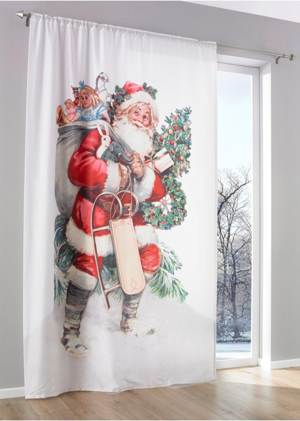 vorhang weihnachtsmann 1er pack wei rot bpc living online kaufen. Black Bedroom Furniture Sets. Home Design Ideas