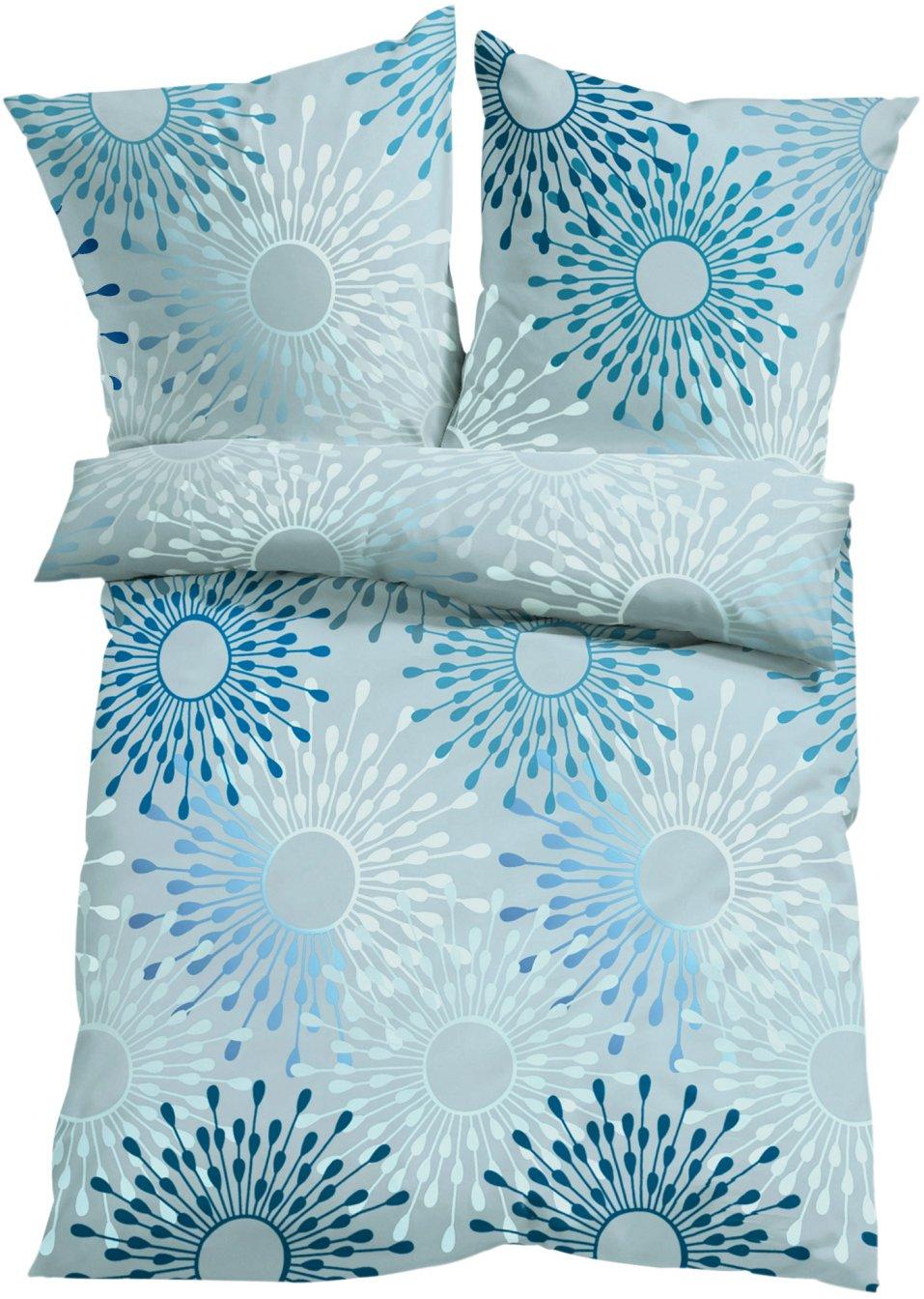 herrlich gem tlich bettw sche mit grafischem muster grau blau microfaser. Black Bedroom Furniture Sets. Home Design Ideas
