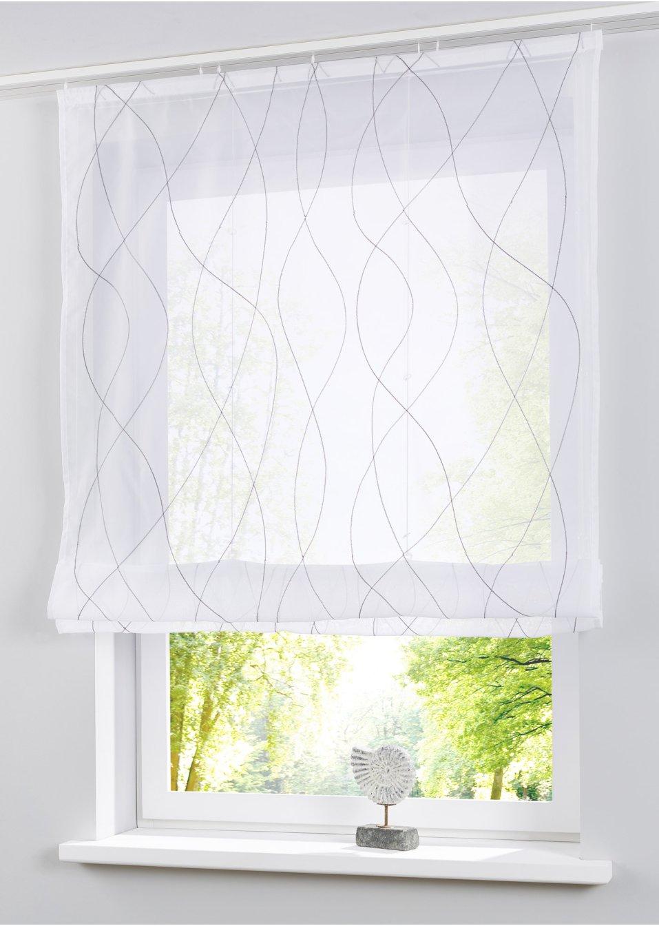 raffrollo jette wei grau bpc living. Black Bedroom Furniture Sets. Home Design Ideas