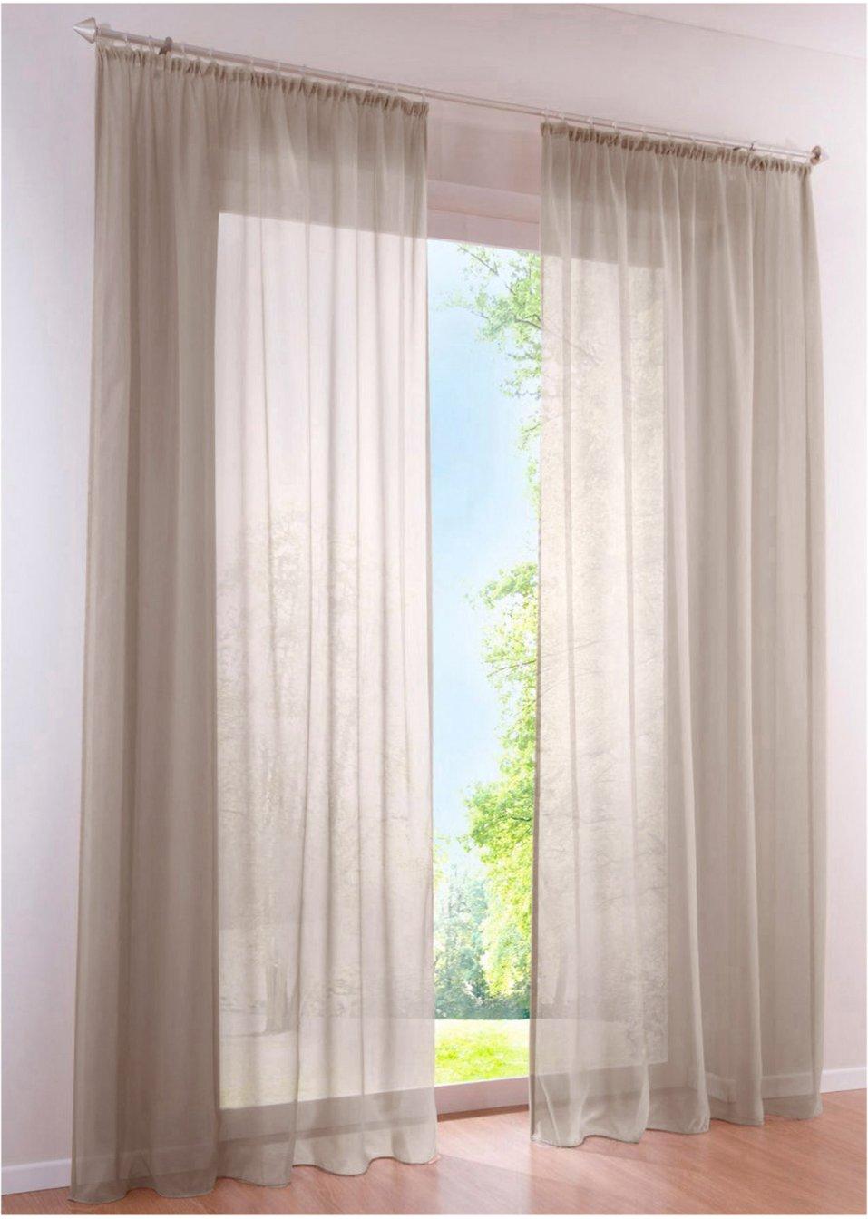 sch ne aussichten die transparente voile gardine uni in tollen farben taupe kr uselband. Black Bedroom Furniture Sets. Home Design Ideas
