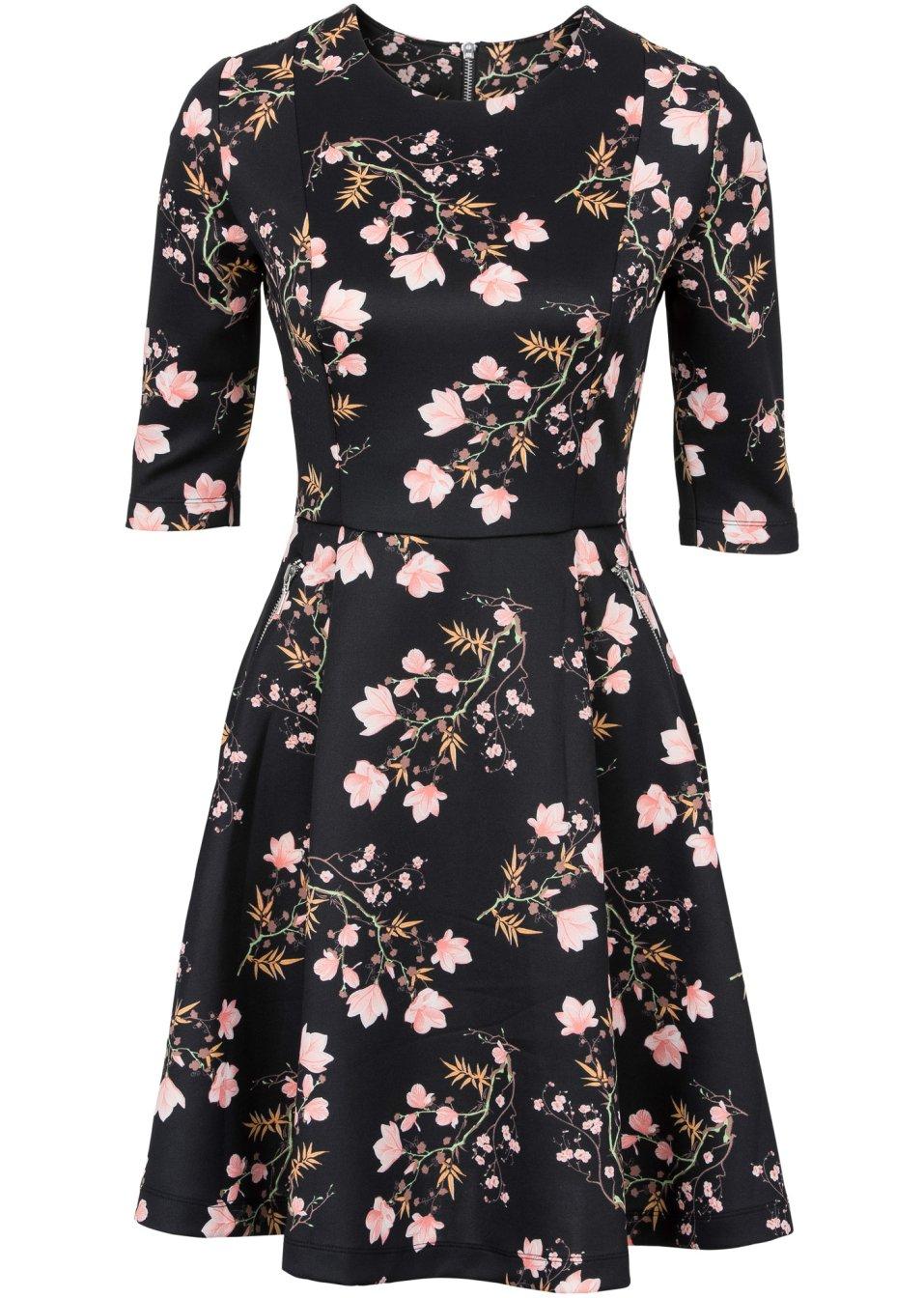 Tailliertes jerseykleid mit spitze