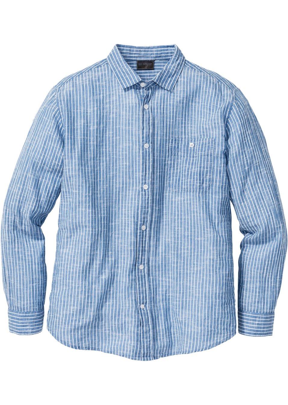 geschmackvolles hemd mit kent kragen blau wei gestreift. Black Bedroom Furniture Sets. Home Design Ideas