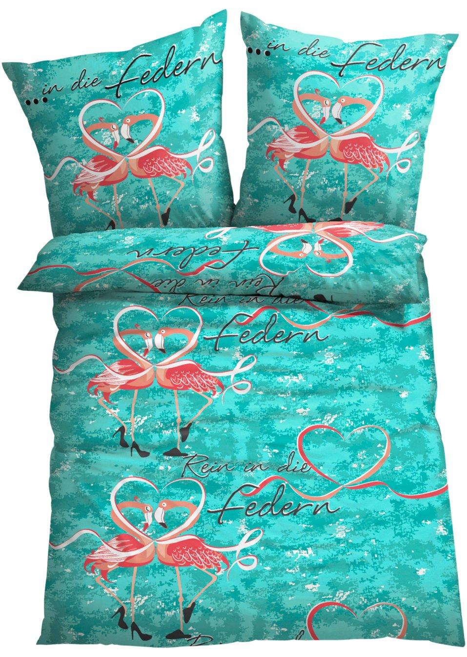 bettw sche flamingo mit fr hlichem motiv bunt linon. Black Bedroom Furniture Sets. Home Design Ideas