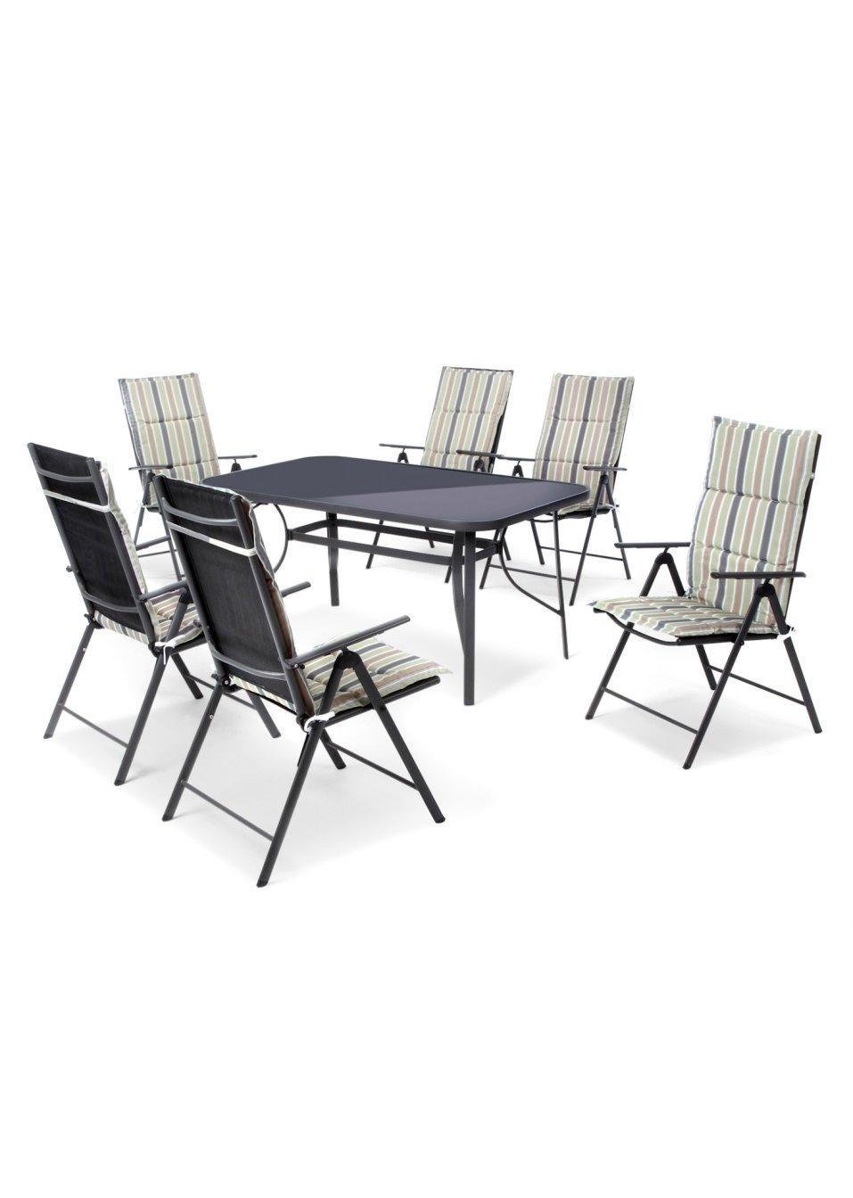 sch ne sitzgruppe mit tisch das 13 tlg gartenm bel set porto anthrazit. Black Bedroom Furniture Sets. Home Design Ideas