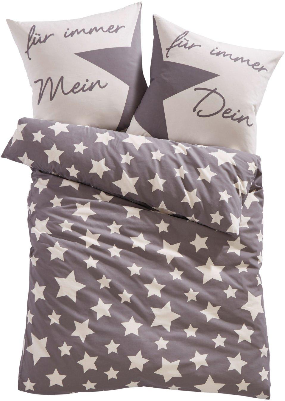 dekoriert den schlafbereich die bettw sche lena mit sternen grau linon. Black Bedroom Furniture Sets. Home Design Ideas
