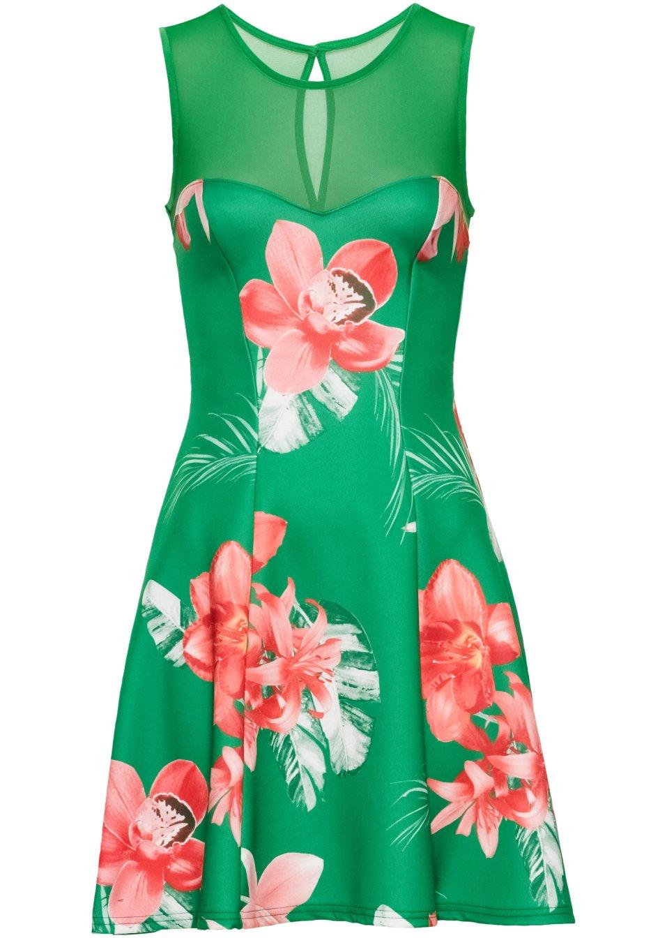Kleid mit Blumenprint grün/pink - BODYFLIRT boutique ...