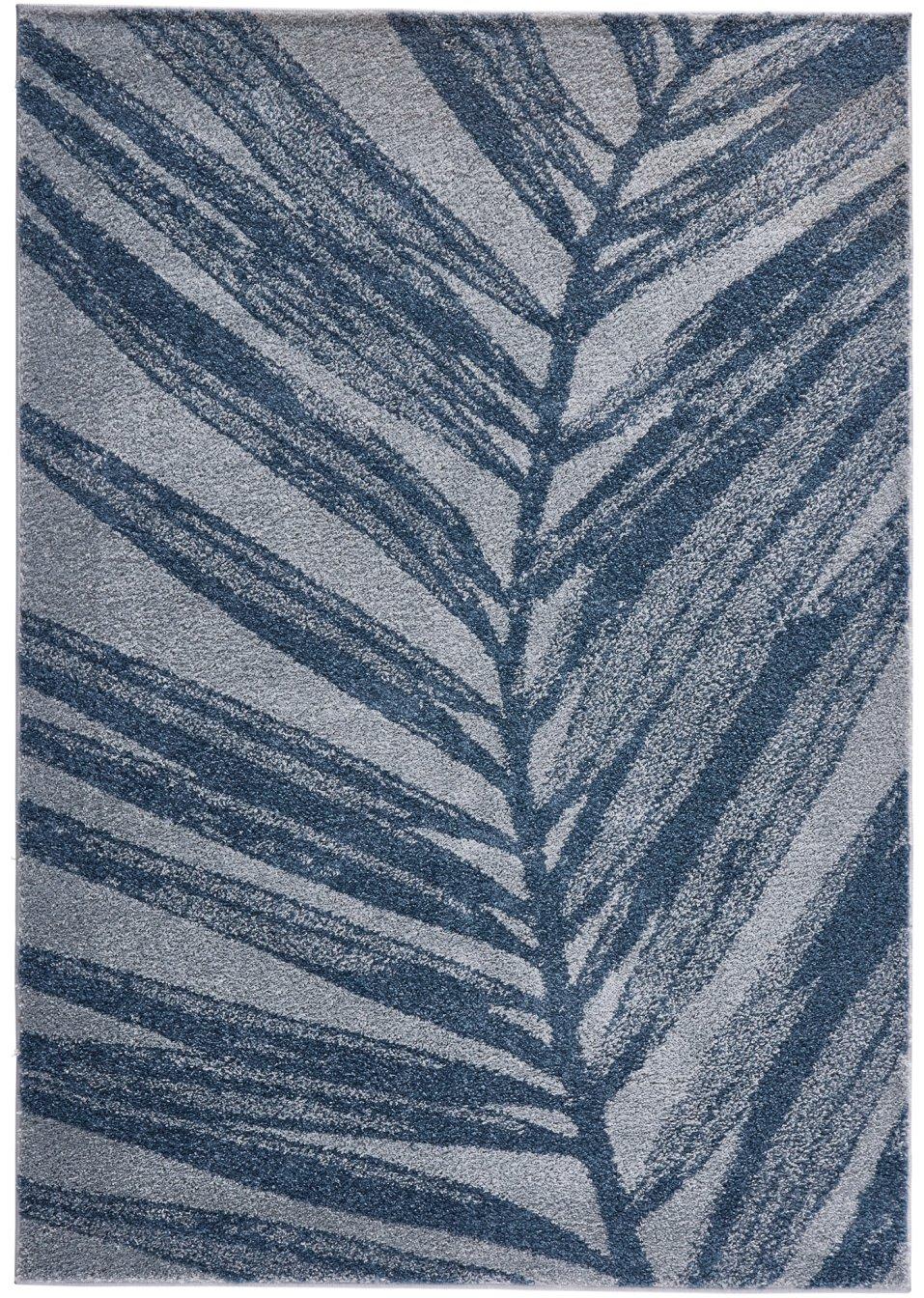 Hubscher teppich quotadelequot mit einem blattmotiv grau blau for Balkon teppich mit versace tapete blau