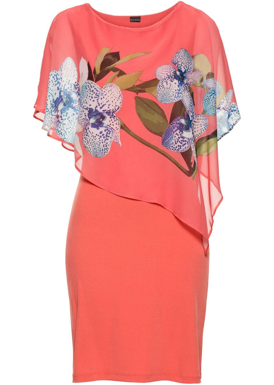hinrei endes kleid mit bedrucktem chiffon berwurf pink koralle mit orchideen print. Black Bedroom Furniture Sets. Home Design Ideas