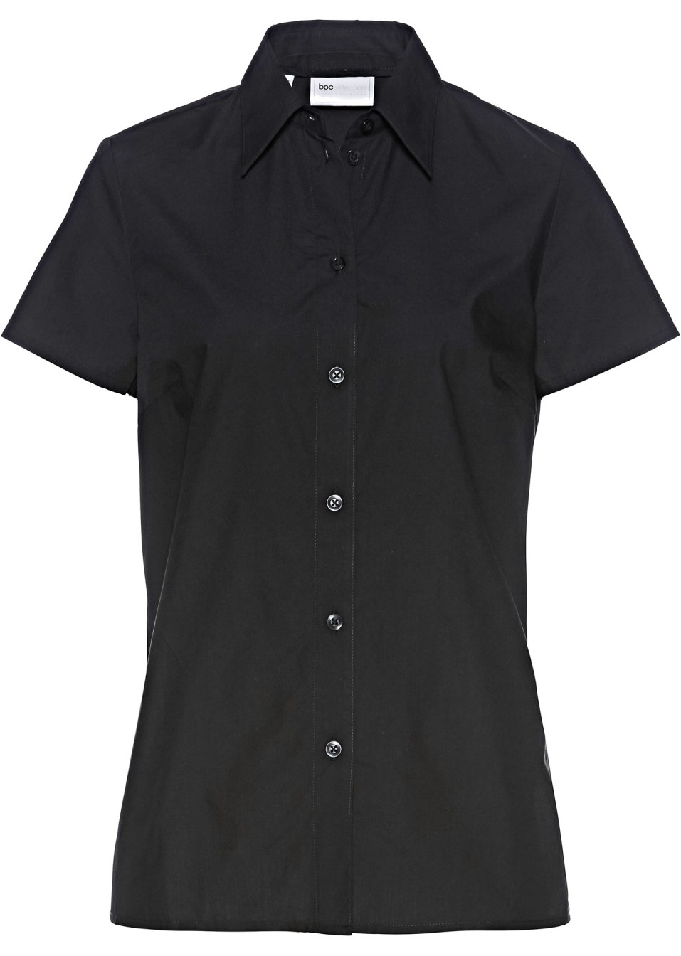 gepflegte kurzarm bluse mit kleinen seitenschlitzen schwarz. Black Bedroom Furniture Sets. Home Design Ideas