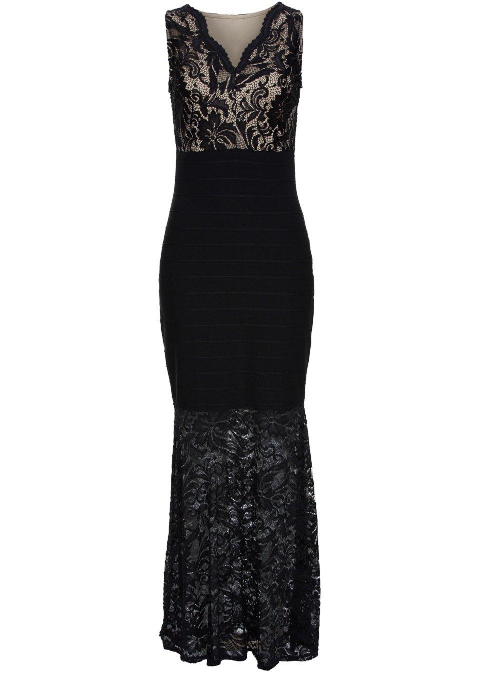Abendkleid mit Spitze ohne Ärmel in schwarz von bonprix BODYFLIRT ...