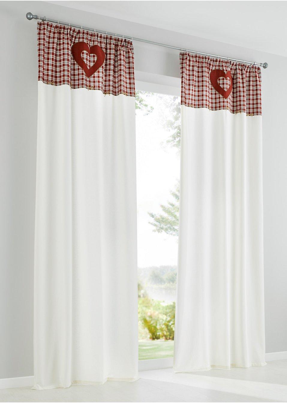 Vorhang malin 1er pack kr uselband wei rot wohnen for Bonprix vorhang