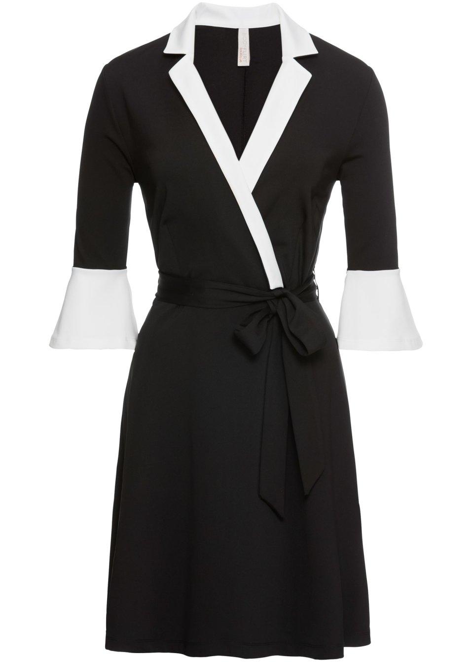 Kleid mit Kragen und Volant-Ärmel schwarz/weiß - BODYFLIRT ...