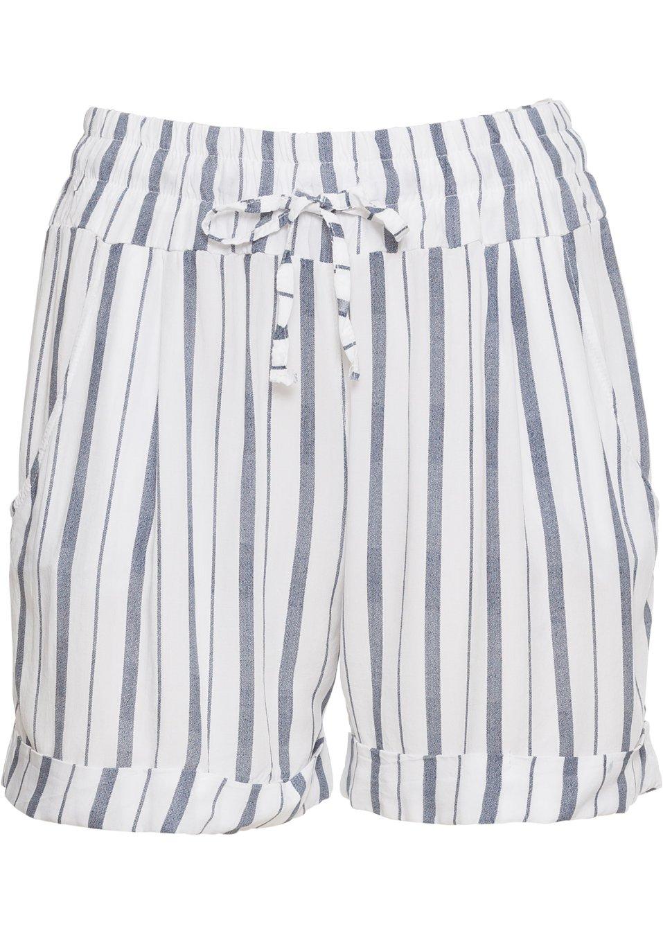 charmante shorts mit beinaufschlag wei blau gestreift. Black Bedroom Furniture Sets. Home Design Ideas